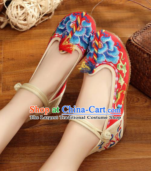 Traditional Chinese Old Beijing Embroidery Peony Red Shoes National Embroidered Shoes Hanfu Shoes for Women