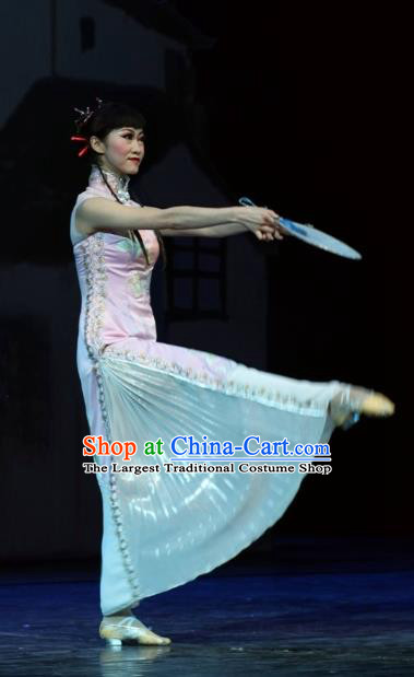 Chinese Impression of Suzhou Classical Dance Pink Dress Stage Performance Costume and Headpiece for Women