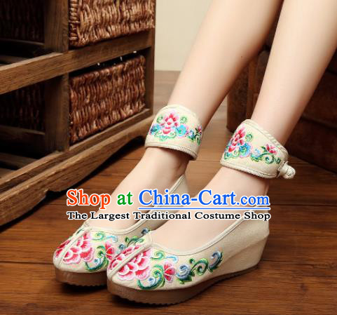 Traditional Chinese Old Beijing Bride Embroidery Peony Beige Shoes National Embroidered Shoes Hanfu Shoes for Women