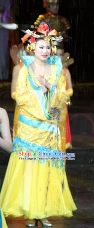 Chinese Impression of Suzhou Classical Dance Yellow Dress Stage Performance Costume and Headpiece for Women