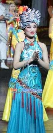 Chinese Impression of Suzhou Classical Dance Blue Dress Stage Performance Costume and Headpiece for Women