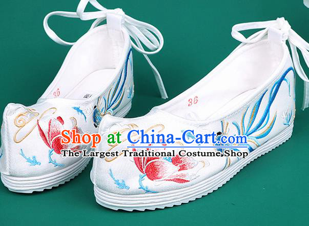 Chinese Traditional Embroidered Goldfish Lotus White Shoes Hanfu Shoes Princess Shoes for Women