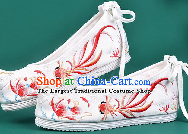 Chinese Traditional Embroidered Red Goldfish Lotus Shoes Hanfu Shoes Princess Shoes for Women