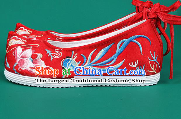 Chinese Traditional Embroidered Goldfish Lotus Red Shoes Hanfu Shoes Princess Shoes for Women