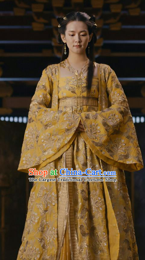 Drama Novoland Eagle Flag Chinese Ancient Princess of Yin Empire Bai Zhouyue Replica Costumes and Headpiece for Women