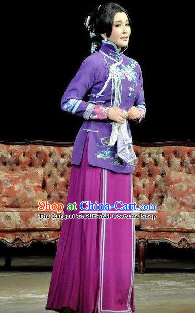 Chinese Unsurpassed Beauty Of A Generation Ancient Courtesan Sai Jinhua Purple Dress Stage Performance Dance Costume and Headpiece for Women