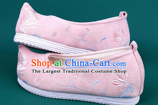 Chinese Wedding Embroidered Chrysanthemum Pink Shoes Traditional Hanfu Shoes Princess Shoes for Women
