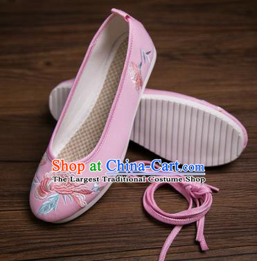 Traditional Chinese Handmade Hanfu Shoes Pink Embroidered Shoes Cloth Shoes for Women