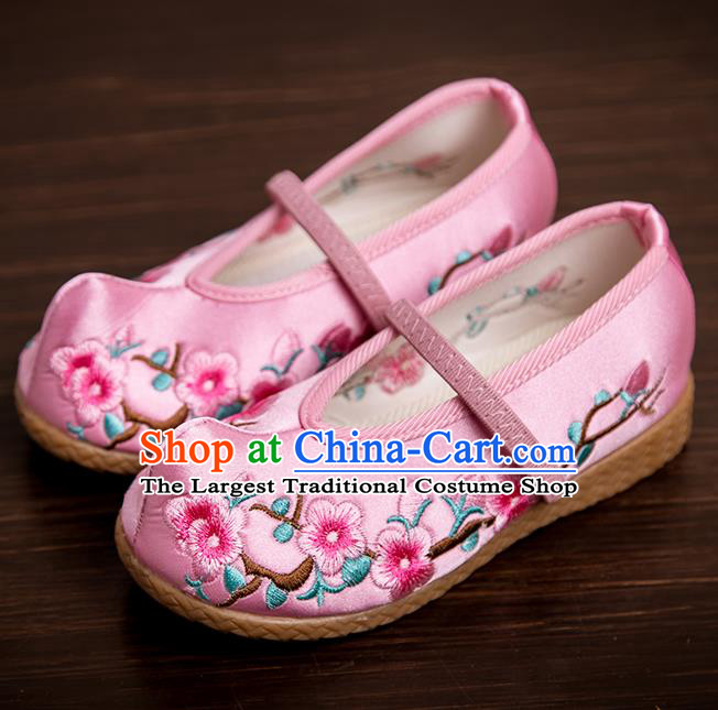 Handmade Chinese National Shoes Traditional New Year Pink Embroidered Shoes Hanfu Shoes for Kids