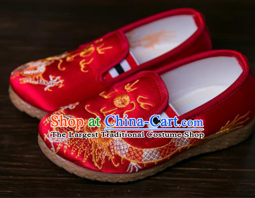 Handmade Chinese Traditional New Year Embroidered Dragon Red Shoes National Shoes Hanfu Shoes for Kids