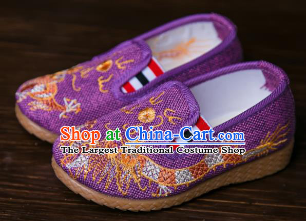 Handmade Chinese Traditional Purple Canvas Embroidered Dragon Shoes New Year National Shoes Hanfu Shoes for Kids