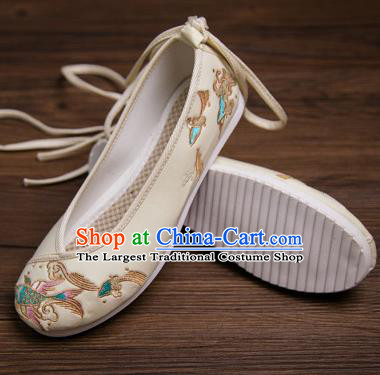 Traditional Chinese Handmade Hanfu Shoes Embroidered Carp Yellow Shoes Cloth Shoes for Women