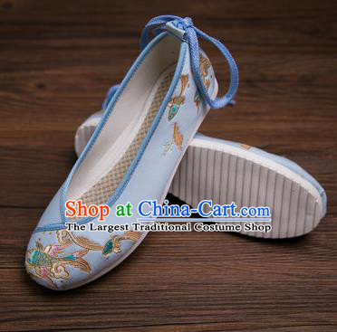 Traditional Chinese Handmade Hanfu Shoes Embroidered Carp Blue Shoes Cloth Shoes for Women