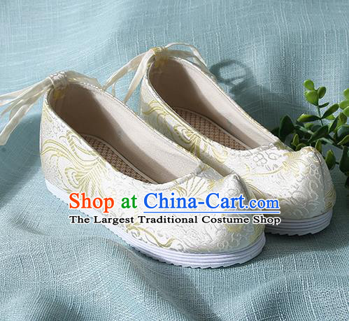 Traditional Chinese Light Blue Brocade Shoes Handmade Wedding Shoes Hanfu Shoes Princess Shoes for Women