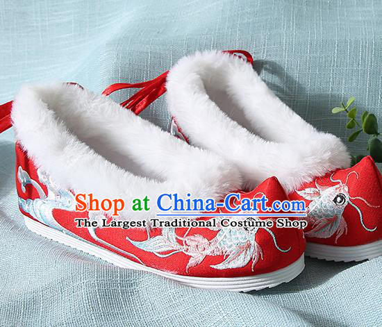 Traditional Chinese Handmade Embroidered Goldfish Red Shoes Wedding Shoes Hanfu Shoes Princess Shoes for Women