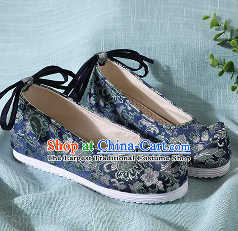Traditional Chinese Handmade Navy Brocade Shoes Wedding Shoes Hanfu Shoes Princess Shoes for Women
