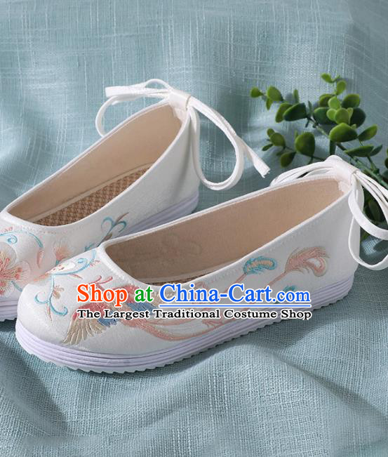 Traditional Chinese Handmade Embroidered White Shoes Wedding Shoes Hanfu Shoes Princess Shoes for Women