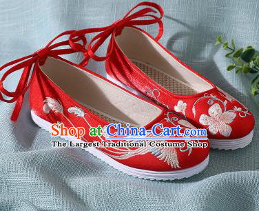Traditional Chinese Handmade Embroidered Red Shoes Wedding Shoes Hanfu Shoes Princess Shoes for Women