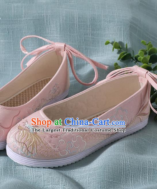 Chinese Handmade Embroidered Dragon Pink Shoes Traditional Wedding Shoes Hanfu Shoes Princess Shoes for Women