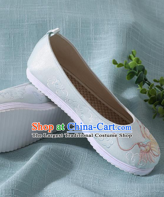 Chinese Handmade Embroidered Dragon Light Blue Shoes Traditional Wedding Shoes Hanfu Shoes Princess Shoes for Women