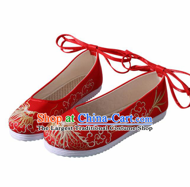 Chinese Handmade Embroidered Dragon Red Shoes Traditional Wedding Shoes Hanfu Shoes Princess Shoes for Women