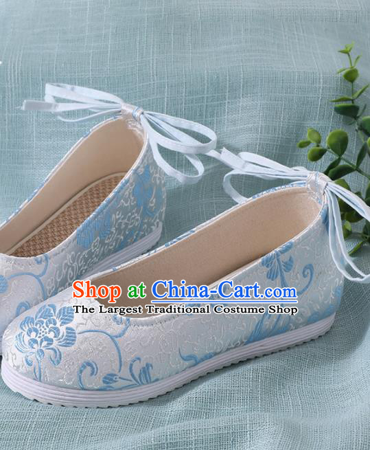 Chinese Handmade Light Blue Brocade Shoes Traditional Ming Dynasty Hanfu Shoes Princess Shoes for Women