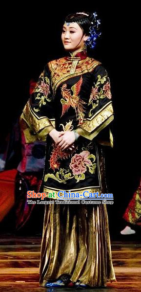 Chinese Dance Drama Wild Jujubes Ancient Dowager Black Dress Stage Performance Dance Costume and Headpiece for Women
