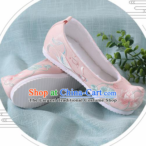 Chinese Handmade Embroidered Lotus Goldfish Pink Shoes Traditional Ming Dynasty Hanfu Shoes Princess Shoes for Women