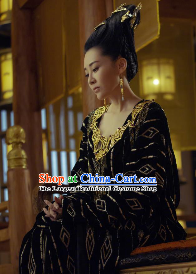 Chinese Historical Drama Ancient Grand Princess Bai Lingbo Novoland Eagle Flag Xu Qing Replica Costumes and Headpiece for Women
