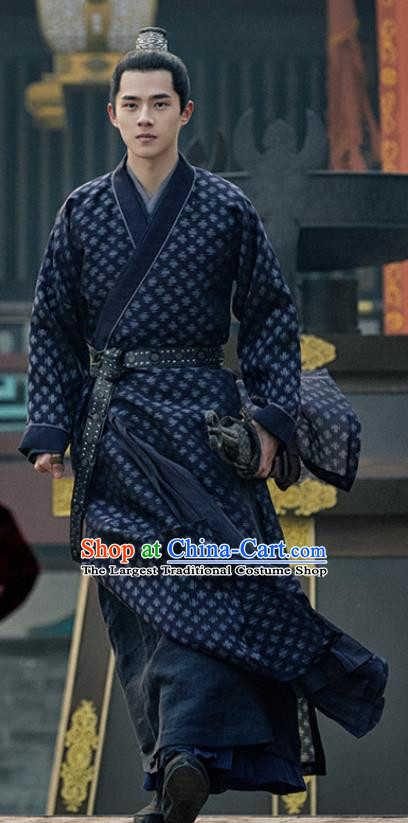 Chinese Historical Drama Ancient Crown Prince Novoland Eagle Flag Lv Guichen Replica Costumes and Headpiece for Men