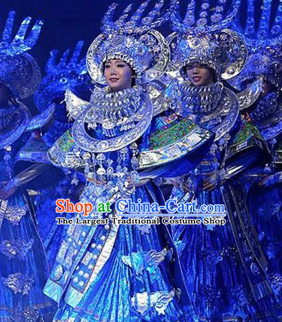 Chinese Dance Drama Colorful Guizhou Yi Nationality Dance Blue Dress Stage Performance Dance Costume and Headpiece for Women