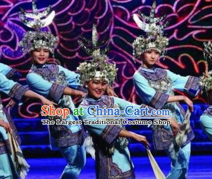 Chinese Dance Drama Colorful Guizhou Yi Nationality Blue Dress Stage Performance Dance Costume and Headpiece for Women