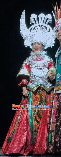 Chinese Dance Drama Colorful Guizhou Yi Nationality Wedding Red Dress Stage Performance Dance Costume and Headpiece for Women