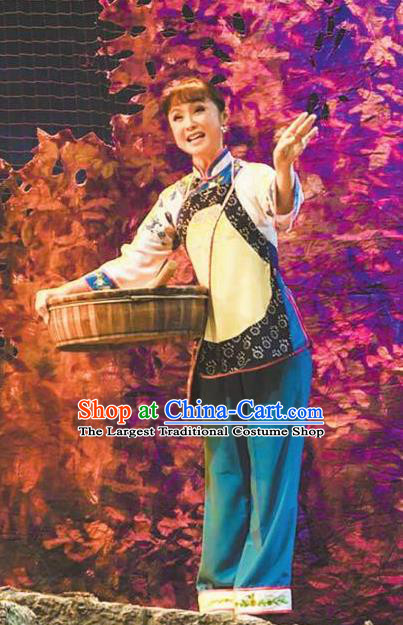 Chinese Moon Shines On Sugarbush Ferry Folk Dance Dress Stage Performance Dance Costume and Headpiece for Women