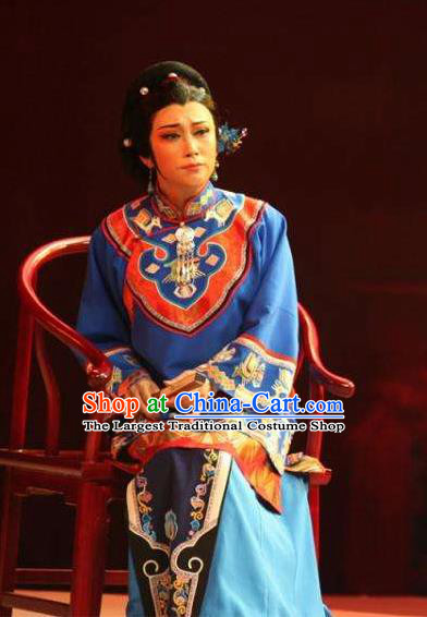 Chinese Moon Shines On Sugarbush Ferry Blue Xiu He Dress Stage Performance Dance Costume and Headpiece for Women