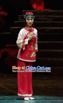 Chinese Moon Shines On Sugarbush Ferry Folk Dance Red Dress Stage Performance Dance Costume and Headpiece for Women
