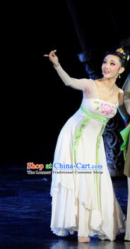 Chinese Chuansi Gongzhu Dance White Dress Ancient Silk Princess Stage Performance Dance Costume and Headpiece for Women