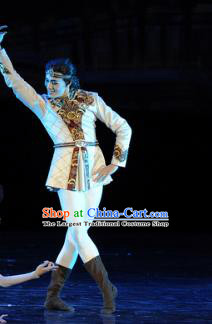 Chinese Chuansi Gongzhu Silk Princess Uyghur Nationality Dance Stage Performance Costume for Men