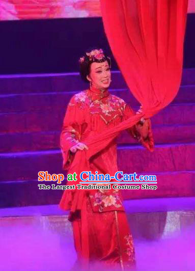Chinese Moon Shines On Sugarbush Ferry Dance Wedding Red Dress Stage Performance Dance Costume and Headpiece for Women
