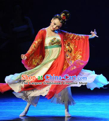 Chinese Chuansi Gongzhu Classical Dance Red Dress Ancient Silk Princess Stage Performance Dance Costume and Headpiece for Women