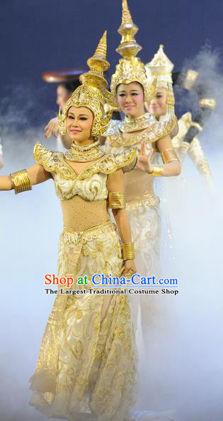 Chinese Chuansi Gongzhu Classical Dance Dress Indian Dance Stage Performance Dance Costume and Headpiece for Women