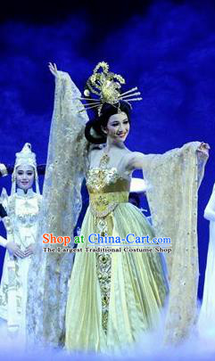 Chinese Chuansi Gongzhu Classical Dance Golden Dress Stage Performance Dance Costume and Headpiece for Women