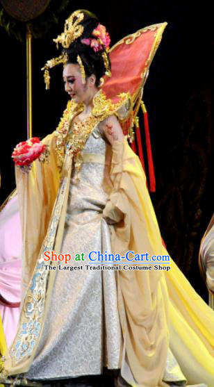 Chinese Chuansi Gongzhu Classical Dance Tang Dynasty Queen Dress Stage Performance Dance Costume and Headpiece for Women