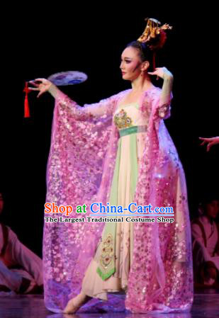 Chinese Chuansi Gongzhu Classical Dance Tang Dynasty Princess Dress Stage Performance Dance Costume and Headpiece for Women