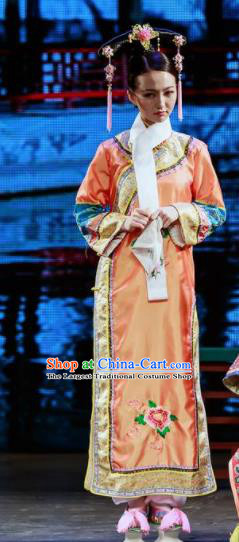 Deling and Cixi Chinese Qing Dynasty Princess Orange Silk Dress Stage Performance Dance Costume and Headpiece for Women