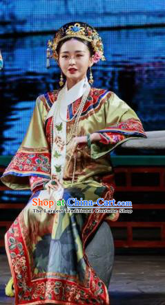 Deling and Cixi Chinese Qing Dynasty Imperial Consort Silk Dress Stage Performance Dance Costume and Headpiece for Women