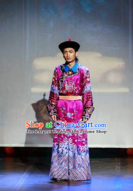 Deling and Cixi Chinese Qing Dynasty Eunuch Dance Stage Performance Purple Costume for Men