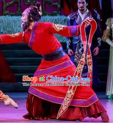 Lady Zhaojun Chinese Han Dynasty Mongol Nationality King Red Clothing Stage Performance Dance Costume for Men