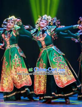 Dance Between Heaven and Earth Chinese Mongol Nationality Green Dress Stage Performance Dance Costume and Headpiece for Women