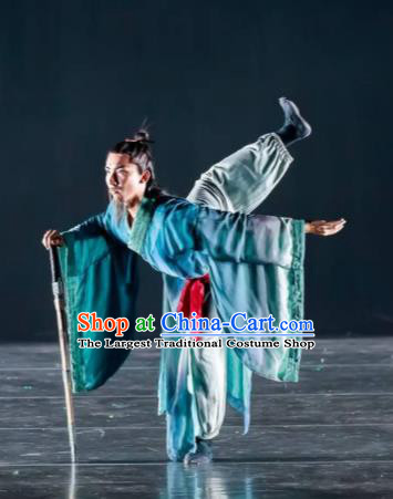 Dance Between Heaven and Earth Chinese Classical Dance Blue Clothing Stage Performance Dance Costume for Men